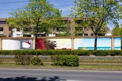 Nasim Naji, Streetart-BS, Mural (Wandgemälde/ Graffiti) an der Elbestraße in Braunschweig (Deutschland). 2021, Technik Sprühdose und Fassadenfarbe, Gesamtansicht
