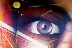 Nasim Naji, Mural (Wandgemälde), Wendenstraße 48, Braunschweig (Deutschland). 2020, Technik Sprühdose, Auftragsarbeit, Detail