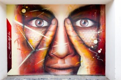 Nasim Naji, Mural (Wandgemälde), Wendenstraße 48, Braunschweig (Deutschland). 2020, Technik Sprühdose, Auftragsarbeit, Frontalansicht