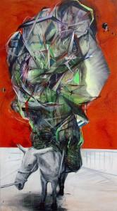 Nasim Naji, Packesel, Acryl, Sprühdose und Öl auf Leinwand, 2014