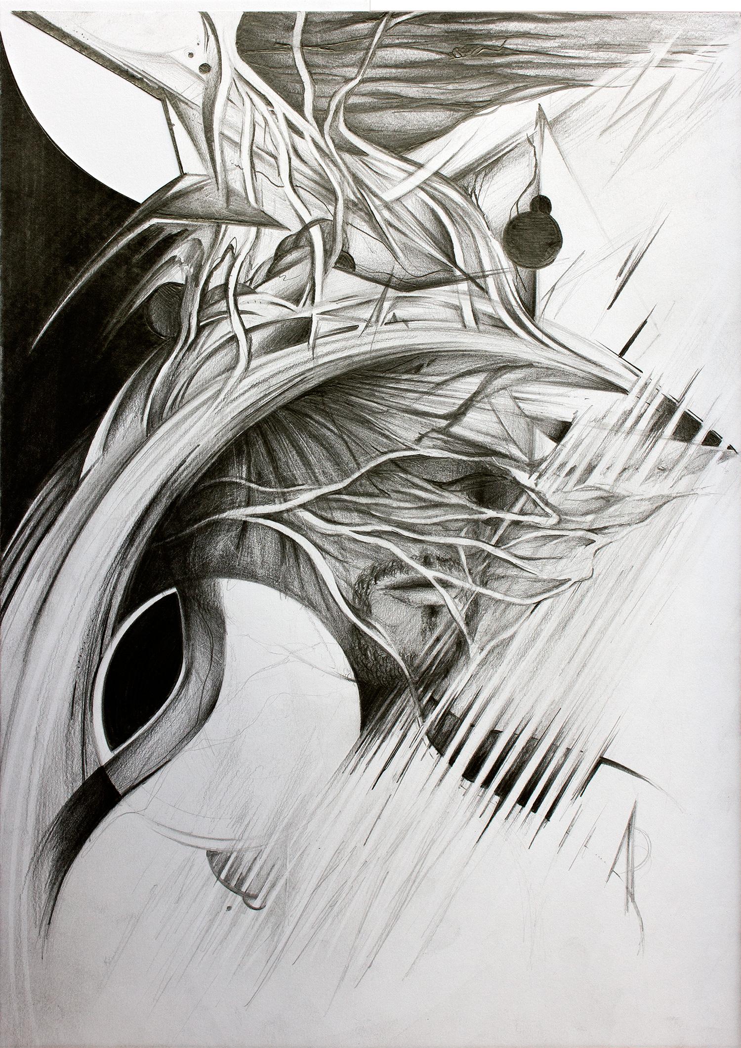 Zeichnung, Bleistift auf Papier, Porträt mit Wurzeln, 2020